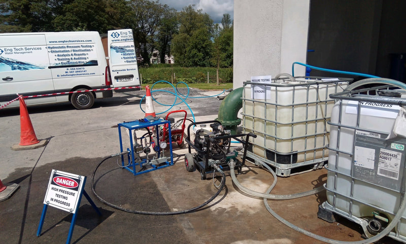 Hydrostatic Pipe  Pressure Testing to Irish Water Requirements.